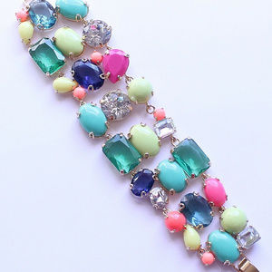 🔥EUC JCrew Colorful Rhinestone Link Wide Bracelet